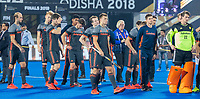BHUBANESWAR, INDIA -  Teleurstelling bij oa Sander de Wijn (Ned) , Thijs van Dam (Ned) , keeper Sam van der Ven (Ned)    na de verloren shoot outs na  de  finale tussen België en Nederland (0-0)  bij het WK Hockey heren in het Kalinga Stadion. Belgie wint de shoot outs .  COPYRIGHT KOEN SUYK