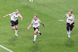 30-06-2011 VOETBAL: FIFA WOMENS WORLDCUP 2011 GERMANY - NIGERIA: FRANKFURT<br /> Torjubel / Jubel  nach dem 1:0 durch Simone Laudehr (GER #06, Duisburg) (M) mit Alexnadra Popp (GER11 #11, Duisburg) (L) und Kim Kulig (GER #14, Hamburg) (R)<br /> ***NETHERLANDS ONLY***<br /> ©2011-FRH- NPH/Mueller