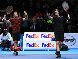 Brazil's Bruno Soares (left) and Great Britain's Jamie Murray (right) celebrate victory during day five of the Barclays ATP World Tour Finals at The O2, London.
