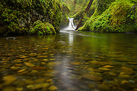 The rocky streambed of Punchbowl Falls in the Columbia River Gorge of the Pacific Northwest.