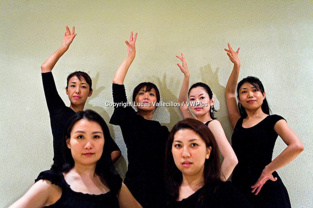 Students of flamenco dance, in the study of Kayoko nakata. Tokyo, Japan
