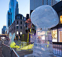 Minneapolis, MN - January 27, 2017: Ice scultptures on Nicollet Aveunue in Minneapolis, Minnesota. Part of the festivities for Super Bowl LII at US Bank Stadium on February 4th.