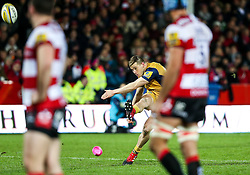 Jason Woodward of Bristol Rugby kicks a Penalty - Rogan Thomson/JMP - 03/12/2016 - RUGBY UNION - Kingsholm Stadium - Gloucester, England - Gloucester Rugby v Bristol Rugby - Aviva Premiership.
