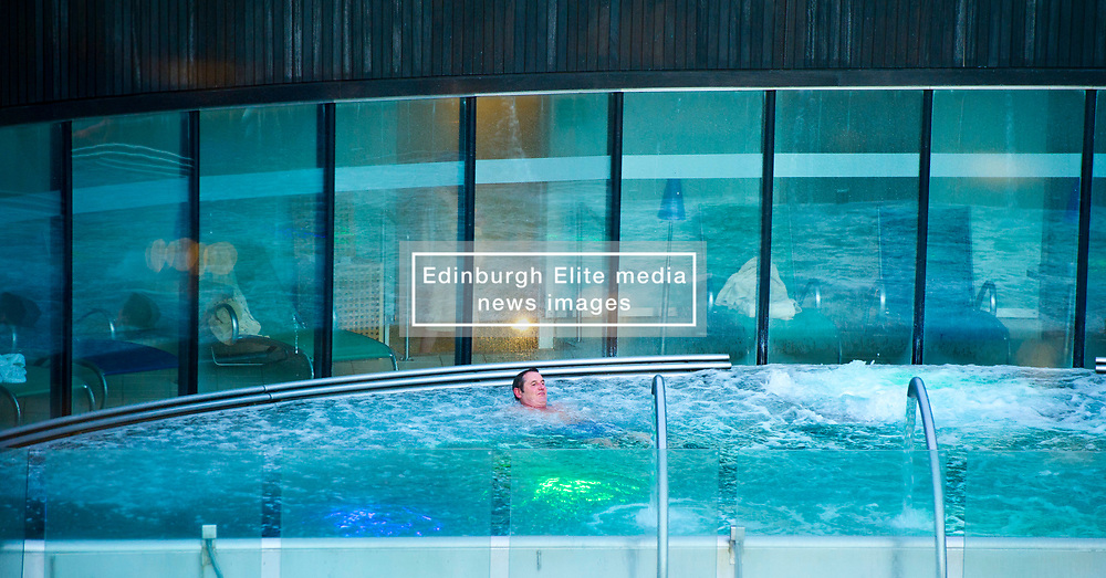Pictured: <br /> Things you never thought you would see in Scotland - open-air swimming in the middle of Edinburgh's financial district<br /> <br /> Ger Harley   EEm 8 March 2017