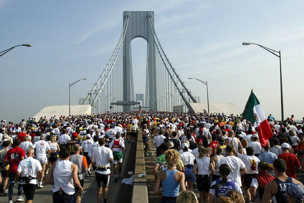 runners at the start of the New York City Marathon, at the Verrazano Narrows Bridge, November 2, 2003 New York City NY, Andrew GOMBERT