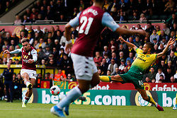 Jack Grealish of Aston Villa shoots at goal - Mandatory by-line: Phil Chaplin/JMP - 05/10/2019 - FOOTBALL - Carrow Road - Norwich, England - Norwich City v Aston Villa - Premier League