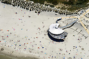 Nederland, Friesland, Ameland, 05-08-2014; Noordzeestrand van Nes. Strandtent.<br /> Wadden island Ameland, North sea beach. <br /> <br /> luchtfoto (toeslag op standard tarieven);<br /> aerial photo (additional fee required);<br /> copyright foto/photo Siebe Swart