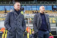 coach John van den Brom of AZ Alkmaar, assistant trainer Arne Slot of AZ Alkmaar