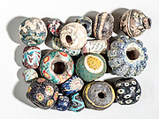 Islamic Glass Beads. 10Th century CE. On White Background