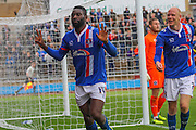 Jabo Ibehre celebrates the goal during the Sky Bet League 2 match between Carlisle United and Dagenham and Redbridge at Brunton Park, Carlisle, England on 12 September 2015. Photo by Craig McAllister.