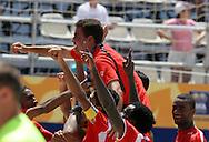 Footbal-FIFA Beach Soccer World Cup 2006 -BHR x NGA - Players load the coach Gustavo Zlocewick- Rio de Janeiro, Brazil - 01/11/2006.<br />Mandatory Credit: FIFA/Ricardo Ayres