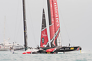 The Great Sound, Bermuda. 10th June 2017. Emirates Team New Zealand and Artemis Racing (SWE) in pre start for the second race of the Louis Vuitton America's Cup Challenger playoff finals. Artemis win the race to take the score to 1 - 1.