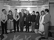 28/10/1985<br /> 10/28/1985<br /> 28 October 1985<br /> Launch of Gaisce The Presidents Award at Aras an Uachtarain. President Dr. Patrick Hillery launched the new national youth award scheme to be the nations highest award to Irish young people aged 15-25. Picture shows President Hillery (centre) with Dr. A.F.J. O'Reilly, (4th from left) Chairman of the Management Committee; Mr. John Murphy, (right) Executive Director of the Award and the first six participants in the Award scheme: David Breggazzi (Finglas, Dublin); Cathriona McSkeane (Ballybay, Co. Monaghan); Garda Donal Smyth (Castleblaney, Co. Monaghan); Gareth Armstrong (Galway); Mary Doherty (Kilkenny) and Niamh Ni Bhaoil (Galway).