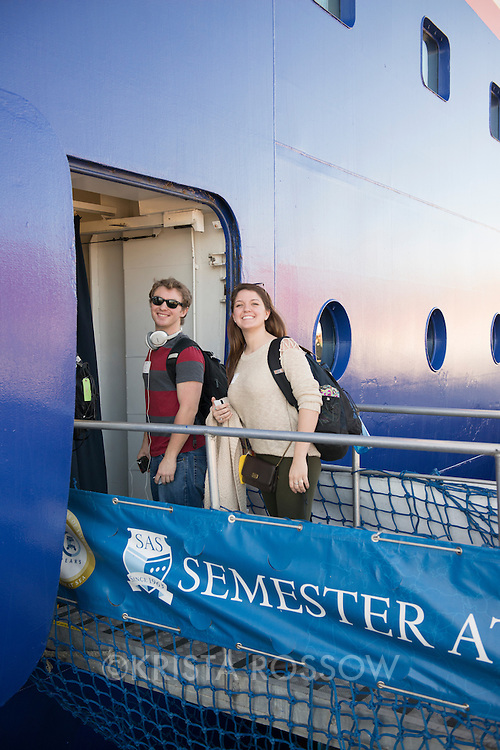 John Molloy from York County Community College (left). Students board the MV Explorer through the 2nd deck gangway on Embarkation day for the Semester at Sea Spring 2014 Voyage, January 10th 2014, in Ensenada, Mexico.