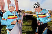 CZECH REPUBLIC / TABOR / WORLD CUP / CYCLING / WIELRENNEN / CYCLISME / CYCLOCROSS / VELDRIJDEN / WERELDBEKER / WORLD CUP / COUPE DU MONDE / #2 / VAL / INJURY / FALL / START / (L-R) RUDY DE BIE / JENS ADAMS (BEL) /