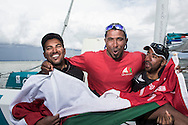The Sevenstar Round Britain Race 2014. Musandam-Oman Sail MOD70 Trimaran sets a new world record and finishes the race in 3days 3hours 32minutes 36 seconds. Beating the current record by 16 minutes.  Yassir Al Rahbi (OMA), Sami Al Shukaili (OMA), Fahad Al Hasni (OMA)<br /> Credit - Lloyd Images