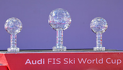 14.03.2019, Soldeu, AND, FIS Weltcup Ski Alpin, SuperG, Weltcupkugeln, im Bild Weltcup Joska // Weltcup Joska before the winner ceremony for the Super-G Worldcup rating of FIS Ski Alpine World Cup finals. Soldeu, Andorra on 2019/03/14. EXPA Pictures © 2019, PhotoCredit: EXPA/ Erich Spiess