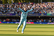 England Are World Champions - Joe Root of England celebrates after Martin Guptill of New Zealand is run out in the super over and England win the World Cup during the ICC Cricket World Cup 2019 Final match between New Zealand and England at Lord's Cricket Ground, St John's Wood, United Kingdom on 14 July 2019.