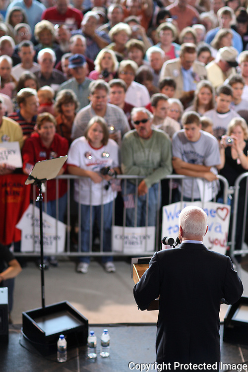 US Republican presidential nominee Senator John McCain (R-AZ) speaks at a campaign rally in Cedar Rapids, Iowa, September 18, 2008.