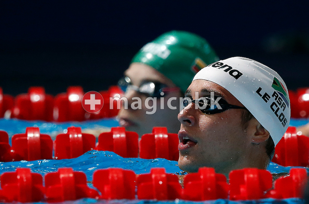 Chad LE CLOS of South Africa reacts after competing in the men's 50m Butterfly Heats during the 15th FINA World Aquatics Championships at the Palau Sant Jordi in Barcelona, Spain, Sunday, July 28, 2013. (Photo by Patrick B. Kraemer / MAGICPBK)