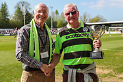 Clive White receives an award from the supporters club during the EFL Sky Bet League 2 match between Forest Green Rovers and Grimsby Town FC at the New Lawn, Forest Green, United Kingdom on 5 May 2018. Picture by Shane Healey.