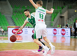 Tim Osolnik of Krka vs Miha Lapornik of Petrol Olimpija during basketball match between KK Petrol Olimpija and KK Krka in Round #6 of Liga Nova KBM za prvaka 2018/19, on April 5, 2019, in Arena Stozice, Ljubljana, Slovenia. Photo by Vid Ponikvar / Sportida