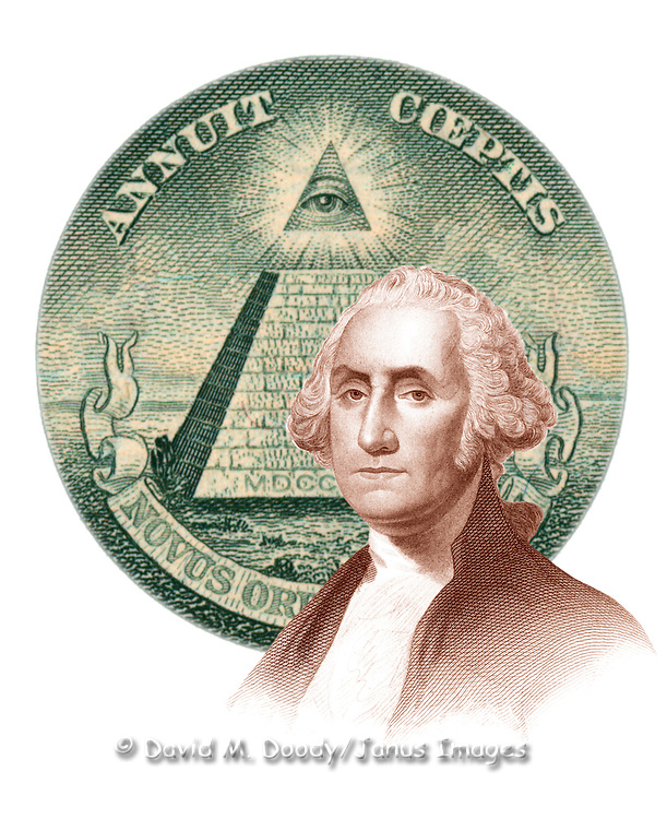 Composite image: George Washington on the dollar bill.