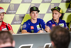 June 8, 2017 - Barcelona, Spain - MotoGP, Maverick Vinales(Spa), Movistar Yamaha Motogp Team and Valentino Rossi(Ita), Movistar Yamaha Motogp Team during the press conference of MotoGp Grand Prix Monster Energy of Catalunya, in Barcelona-Catalunya Circuit, Barcelona on 8th June 2017 in Barcelona, Spain. (Credit Image: © Urbanandsport/NurPhoto via ZUMA Press)