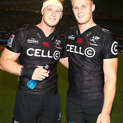 DURBAN, SOUTH AFRICA - MARCH 18: Jean-Luc du Preez with Daniel Du Preez of the Cell C Sharks  during the Super Rugby match between Cell C Sharks and Southern Kings at Growthpoint Kings Park on March 18, 2017 in Durban, South Africa. (Photo by Steve Haag/Gallo Images)