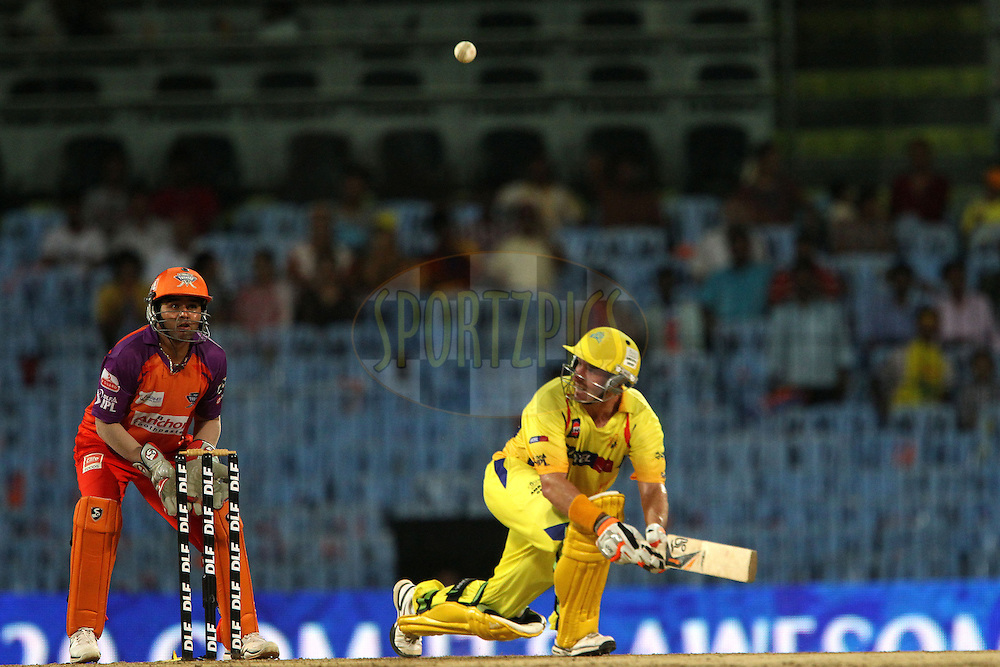 Michael Hussey and Parthiv Patel during match 64 of the Indian Premier League ( IPL ) Season 4 between the Chennai Superkings and The Kochi Tuskers Kerala held at the MA Chidambaram Stadium in Chennai, Tamil Nadu, India on the 18th May 2011..Photo by Ron Gaunt/BCCI/SPORTZPICS