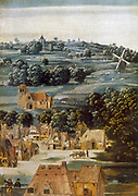 Virgin and Child' Detail: Houses with landscape in background with postmill, right.  Anonymous: 16th century. Oil on wood.
