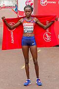 Brigid Kosgei (Kenya) winner of the Elite Women's race in the Virgin Money 2019 London Marathon, London, United Kingdom on 28 April 2019.