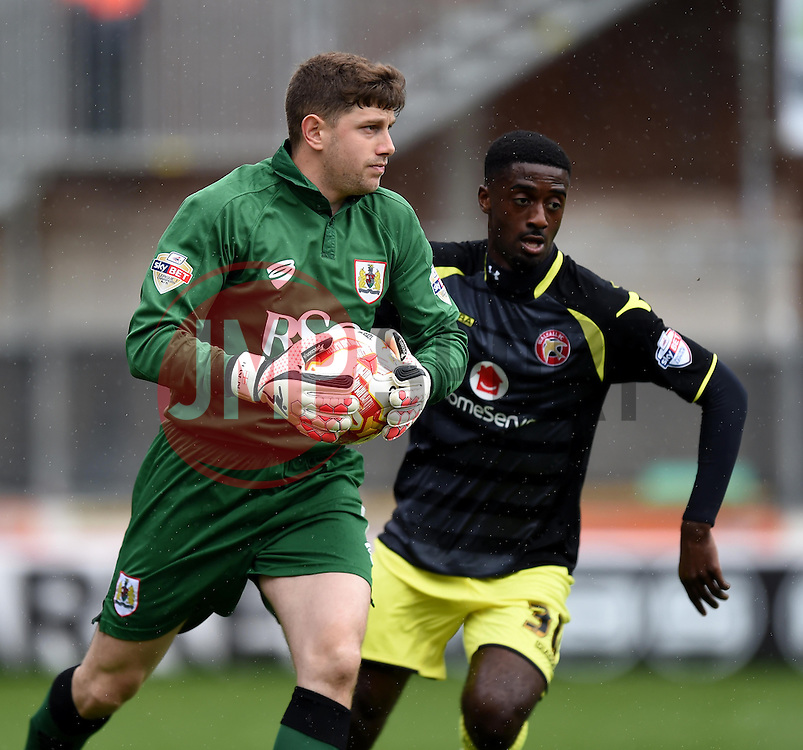 Bristol City goalkeeper, Frank Fielding in action during the Sky Bet League One match between Bristol City and Walsall at Ashton Gate on 3 May 2015 in Bristol, England - Photo mandatory by-line: Paul Knight/JMP - Mobile: 07966 386802 - 03/05/2015 - SPORT - Football - Bristol - Ashton Gate Stadium - Bristol City v Walsall - Sky Bet League One