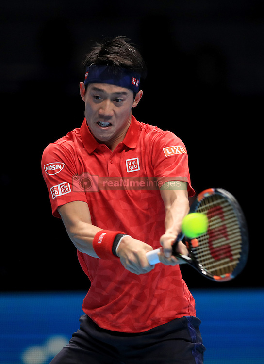 Kei Nishikori during his match against Marin Cilic during day six of the Barclays ATP World Tour Finals at The O2, London.