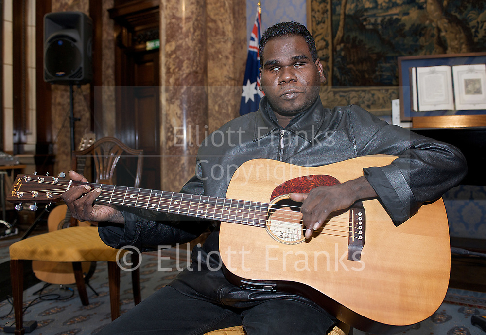Geoffrey Gurrumul Yunupingu died 25th July 2017.<br /> <br /> Geoffrey Gurrumul Yunupingu, also referred to as Dr G Yunupingu, (22 January 1971 &ndash; 25 July 2017) was an Indigenous Australian musician.<br /> <br /> <br /> Pictured here at a Showcase performance at the Australian High Commission, London, Great Britain<br /> in the presence of Mr John Dauth LVO<br /> High Commissioner to the United Kingdom<br /> 8th May 2009 <br /> <br /> Gurrumul <br /> <br /> Photograph by Elliott Franks