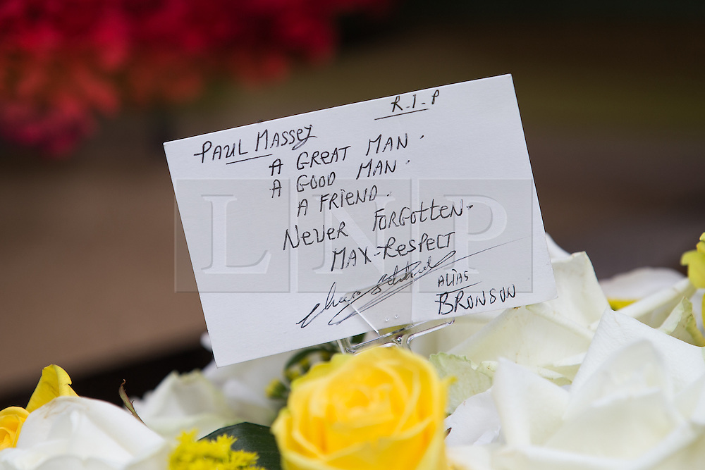"** NOTE TO EDITORS. Handwriting appears to show the tribute was written by Charles Salvador, better known as Charles Bronson** © Licensed to London News Pictures . 28/08/2015 . Salford , UK . A tribute on one of the hearses . The funeral of Paul Massey at St Paul's CE Church in Salford . Massey , known as Salford's "" Mr Big "" , was shot dead at his home in Salford last month . Photo credit : Joel Goodman/LNP"