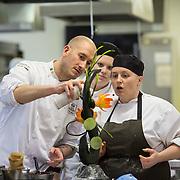 17.01.17<br /> Belgian Chocolatier, Erik van der Veken demonstration LIT. <br /> <br /> Pictured are, Stephanie Titstanium Guerin and Emily Badgerow with Erik van der Veken. Picture: Alan Place