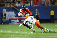 Ole Miss Rebels wide receiver Cody Core (88) vs. Boise State Broncos cornerback Cleshawn Page (3) at the Georgia Dome in Atlanta, Ga. on Thursday, August 28, 2014. Ole Miss won 35-13.