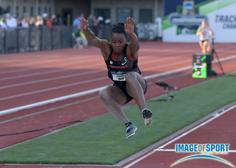Jun 7, 2018; Eugene, OR, USA; Keturah Orji of Georgia wins the women's long jump at 21-10 3/4 (6.67m) during the NCAA Track and Field championships at Hayward Field.