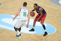 Unicaja's Nemanja Nedovic and FCB Lassa's Xavier Mumford during Quarter Finals match of 2017 King's Cup at Fernando Buesa Arena in Vitoria, Spain. February 17, 2017. (ALTERPHOTOS/BorjaB.Hojas)