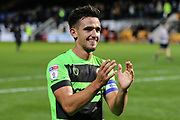 Forest Green Rovers Liam Shephard(2) applauds the fans during the EFL Sky Bet League 2 match between Cambridge United and Forest Green Rovers at the Cambs Glass Stadium, Cambridge, England on 2 October 2018.