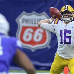 Sep 2, 2017; New Orleans, LA, USA; LSU Tigers quarterback Danny Etling (16) throws against the Brigham Young Cougars during the first quarter of the AdvoCare Texas Kickoff game at the Mercedes-Benz Superdome. Mandatory Credit: Derick E. Hingle-USA TODAY Sports