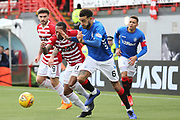 Hamilton Accademical forward Mickel Miller (11) attempts to beat Rangers defender Connor Goldson (6)  during the Ladbrokes Scottish Premiership match between Hamilton Academical FC and Rangers at New Douglas Park, Hamilton, Scotland on 24 February 2019.
