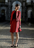 A model poses for photographs at Somerset House during London Fashion Week Fall/Winter 2013 in London, Britain, 18 February 2013. The fashion week runs from 15 to 19 February. Flying from New York before travelling to Milan, the fashion industry makes a stop in London to present its Fall/Winter 2013 collections. Over five days models, designers, buyers, bloggers, photographers, makeup artists, hair dressers, celebrities and hipsters congregate at Somerset House for a celebration of cutting edge style. Style is not only reserved to the catwalk. Guests also compete in creativity, often going to extreme lengths to be the coolest cat in town. And London certainly has its fair share of cool cats.