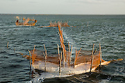 Fishing nets and fish traps. Jaffna lagoon.