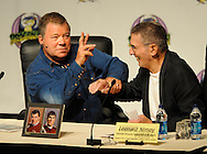 Atlanta - William Shatner and Leonard Nimoy  joke with each other during the Dragon Con convention at the Hyatt on Friday, September 4, 2009. ©2009 Johnny Crawford