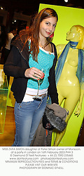 MISS ZARA SIMON daughter of Peter Simon owner of Monsoon, at a party in London on 16th February 2003.PHH 3