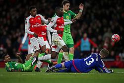 Joel Campbell of Arsenal shot is saved by Jordan Pickford of Sunderland  - Mandatory byline: Jason Brown/JMP - 07966386802 - 09/01/2016 - FOOTBALL - Emirates Stadium - London, England - Arsenal v Sunderland - The Emirates FA Cup