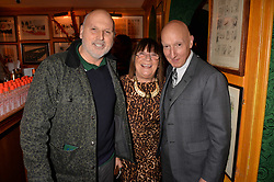 Sam McKnight, Hilary Alexander and Stephen Jones attend CATWALKING, PHOTOGRAPHS BY CHRIS MOORE party hosted by The British Fashion Council & Laurence King Publishing at Annabel's, Mayfair, London England. 6 November 2017.