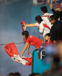 March 23, 2018 - Miami Gardens, Florida, USA - Fans wave their Peruvian flags at the Croatian team as they enter the field before the FIFA 2018 World Cup preparation match between the Peru National Soccer Team and the Croatia National Soccer Team at the Hard Rock Stadium in Miami Gardens, Florida. (Credit Image: © Mario Houben via ZUMA Wire)